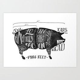 pig chart, meat map pork Art Print