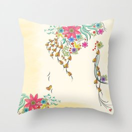 Vibrant Floral to Floral Throw Pillow