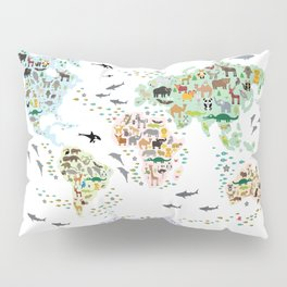 Cartoon animal world map for children, kids, Animals from all over the world, back to school, white Pillow Sham