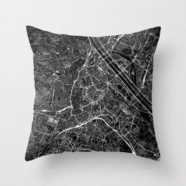 Vienna Black Map Throw Pillow