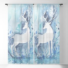 White Deer Watercolor Sheer Curtain