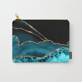 Teal Blue And Gold Glitter Veins Agate Carry-All Pouch