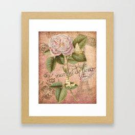 French Flower Market - Marche de Fleur - Rose and French Ephemera Print Framed Art Print
