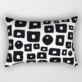 Geometrical hand painted black white squares circles Rectangular Pillow