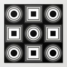 Fade To Black - Abstract, black and white, geometric, 3D effect artwork Canvas Print