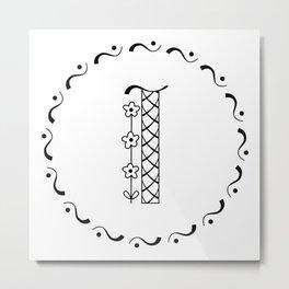 I - decorative monogram. Metal Print