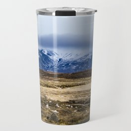 Wooden Trail in the Icelandic Wilderness Leading through the Tundra Travel Mug