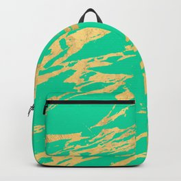 Gold Bright Teal Marble Stone Modern Pattern Backpack