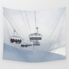 Skiers on chairlift, Alps Wall Tapestry