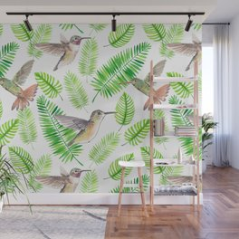 Hummingbirds and tropical leaves Wall Mural