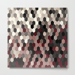 Hexagon Pattern In Gray and Burgundy Autumn Colors Metal Print
