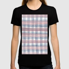 Pink And Blue Watercolour Checkers T-shirt