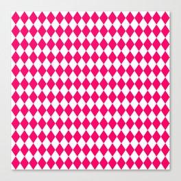 Hot Neon Pink and White Harlequin Diamond Check Canvas Print