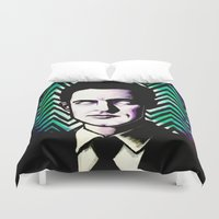 dale cooper Duvet Covers featuring Black Lodge Dale Cooper by Kate Davis