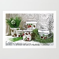 Old Cups and Greens - Painting Style Art Print