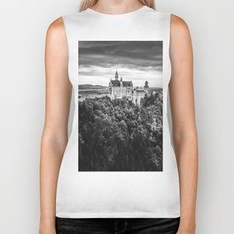 The Castle on the Mountain (Black and White) Biker Tank