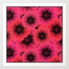 Bright red, crimson flowers background. Art Print