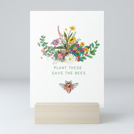 Plant these Save the Bees Mini Art Print