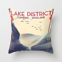 Lake district, Cumbira Travel poster. Throw Pillow