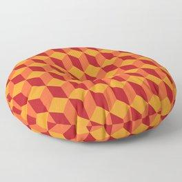 RETRO YELLOW RED 3D BOX PATTERN Floor Pillow