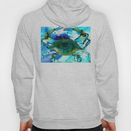 Blue Crab - Abstract Seafood Painting Hoody