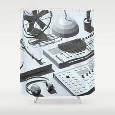 Low Poly Studio Objects 3D Illustration Grey Shower Curtain