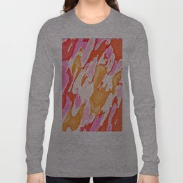 orange brown and pink camouflage graffiti painting abstract background Long Sleeve T-shirt