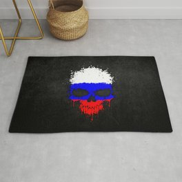 Flag of Russia on a Chaotic Splatter Skull Rug