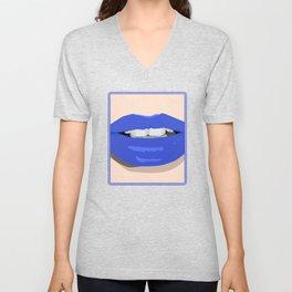 Blue Lips Unisex V-Neck