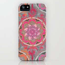 Hot Pink, Magenta and Orange Super Boho Medallions iPhone Case