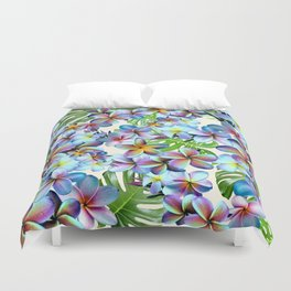 Rainbow Plumeria Pattern Duvet Cover