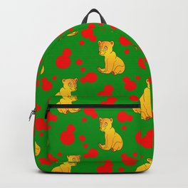 Little bears. Cute adorable funny baby bear cubs and bold red retro dots green seamless pattern Backpack
