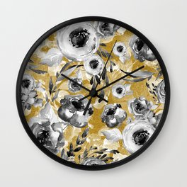Black and white flowers with gold Wall Clock