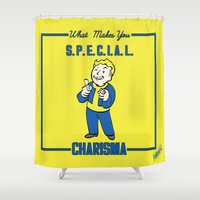 fallout Shower Curtains featuring Charisma S.P.E.C.I.A.L. Fallout 4 by sgrunfo