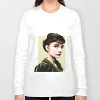 audrey hepburn Long Sleeve T-shirts featuring Audrey Hepburn by Sophie Eves