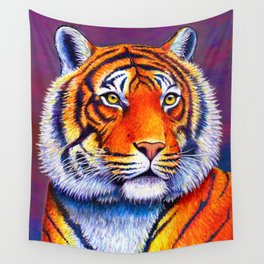 Colorful Bengal Tiger Portrait Wall Tapestry