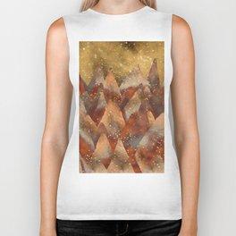 Abstract Copper  Gold Glitter Mountain Dreamscape Biker Tank