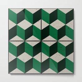 Vintage tiles - green isometric cubes Metal Print