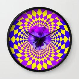 OPTICAL LILAC PURPLE PANSIES YELLOW  GEOMETRIC ART Wall Clock