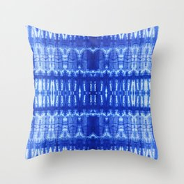 tie dye ancient resist-dyeing techniques Indigo blue textile abstract pattern Throw Pillow