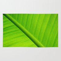 banana leaf Area & Throw Rugs featuring Upclose Banana Leaf by Erin Mac Photography