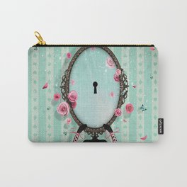 woman in her hand mirror with keyhole for greeting Carry-All Pouch