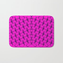 Vintage background of openwork hearts. Pattern of silhouettes of black hearts on a purple background Bath Mat