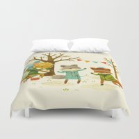 spring Duvet Covers featuring Critters: Spring Dancing by Teagan White