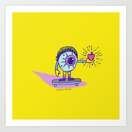 Apple of my Eye Idiom with Yellow Background Art Print