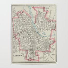 Vintage Map of Nashville TN (1901) Poster