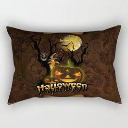 Halloween, funny pumpkin with owl Rectangular Pillow