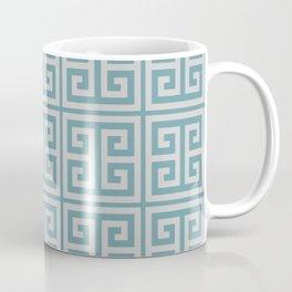 Dusky Blue Greek Key Motif Coffee Mug