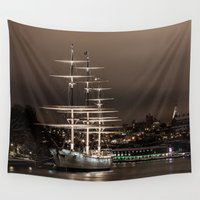 sailboat Wall Tapestries featuring Sailboat on the Harbor  by Limitless Design