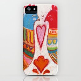 Folk Love Birds iPhone Case